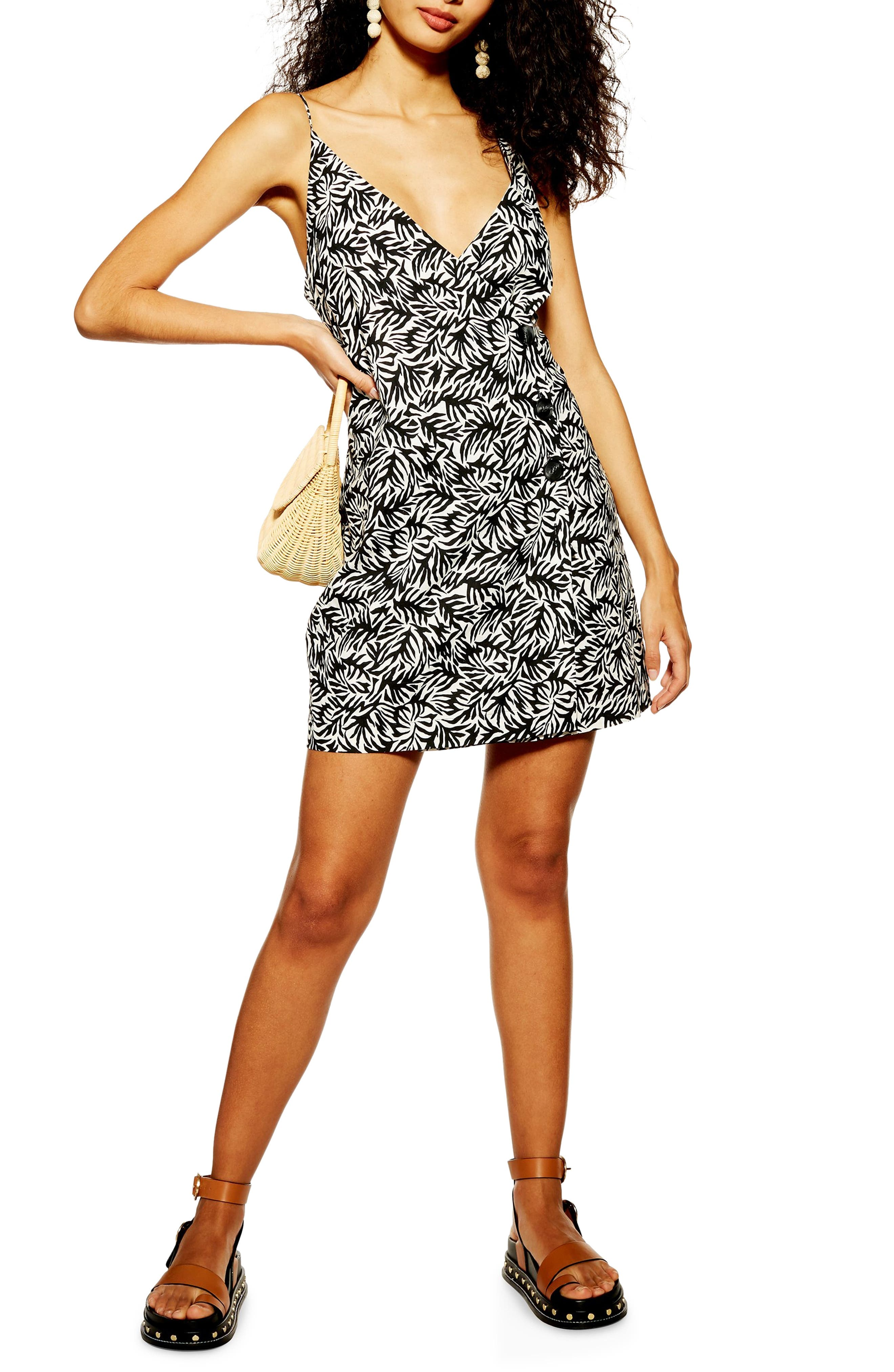 Topshop Matisse Wrap Style Button Front Minidress, US (fits like 2-4) - Black