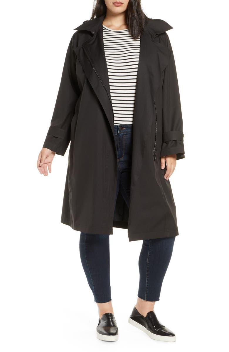BERNARDO Hooded Windproof & Water Resistant Trench Coat, Main, color, BLACK