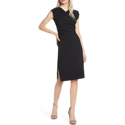 Elizabeth Crosby Ruched Sheath Dress, Black