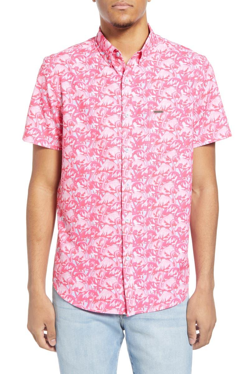 VINTAGE SUMMER Flamingos Water Repellent Short Sleeve Button-Down Shirt, Main, color, 670