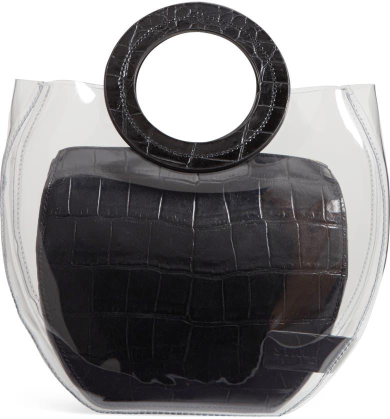 STAUD Frida Transparent Handbag, Main, color, CLEAR/ BLACK CROC