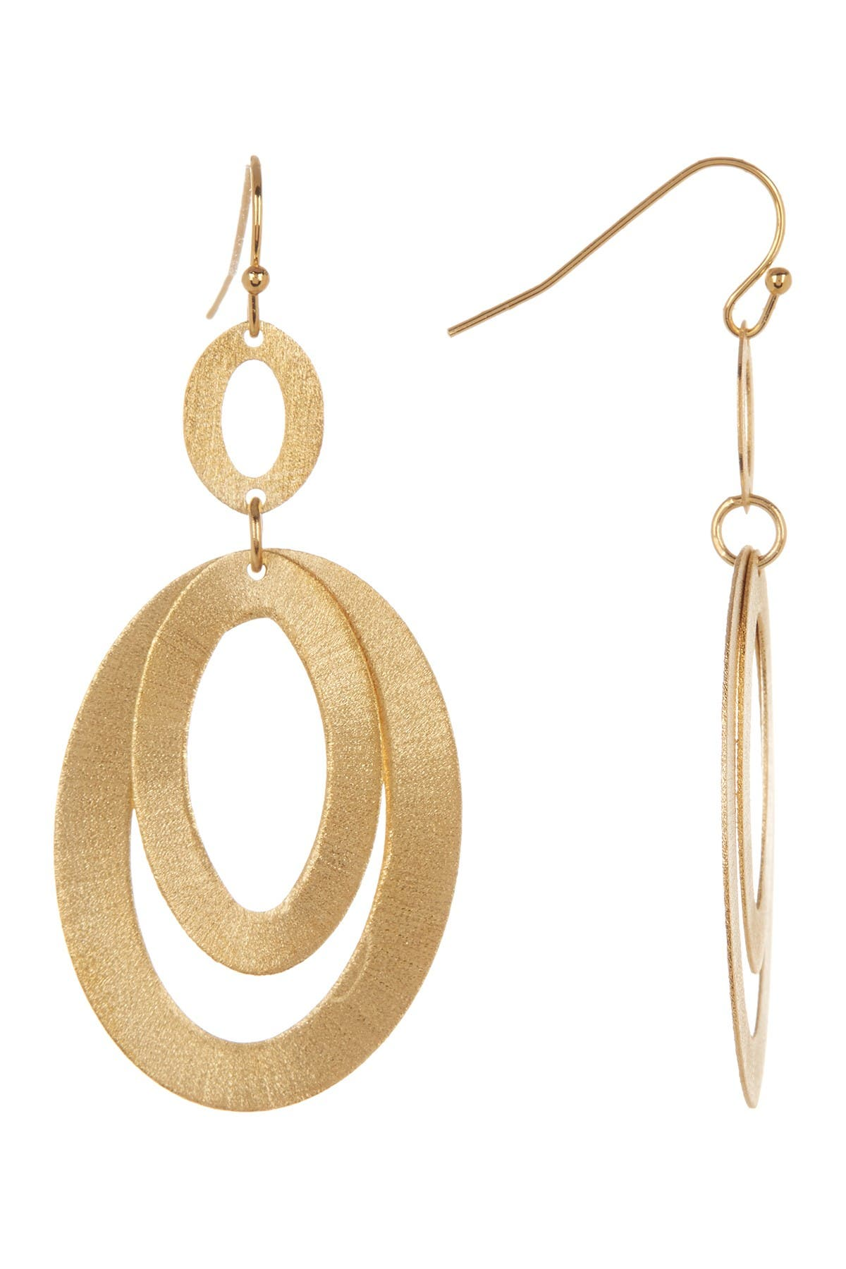 Image of Rivka Friedman 18K Gold Clad Layered Textured Oval Link Earrings