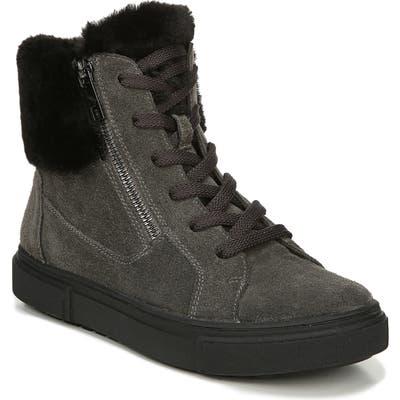 Naturalizer Baker Faux Fur Trim High Top Sneaker, Grey