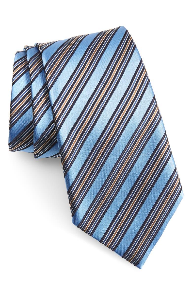 ERMENEGILDO ZEGNA Stripe Silk Tie, Main, color, BRIGHT BLUE STRIPE