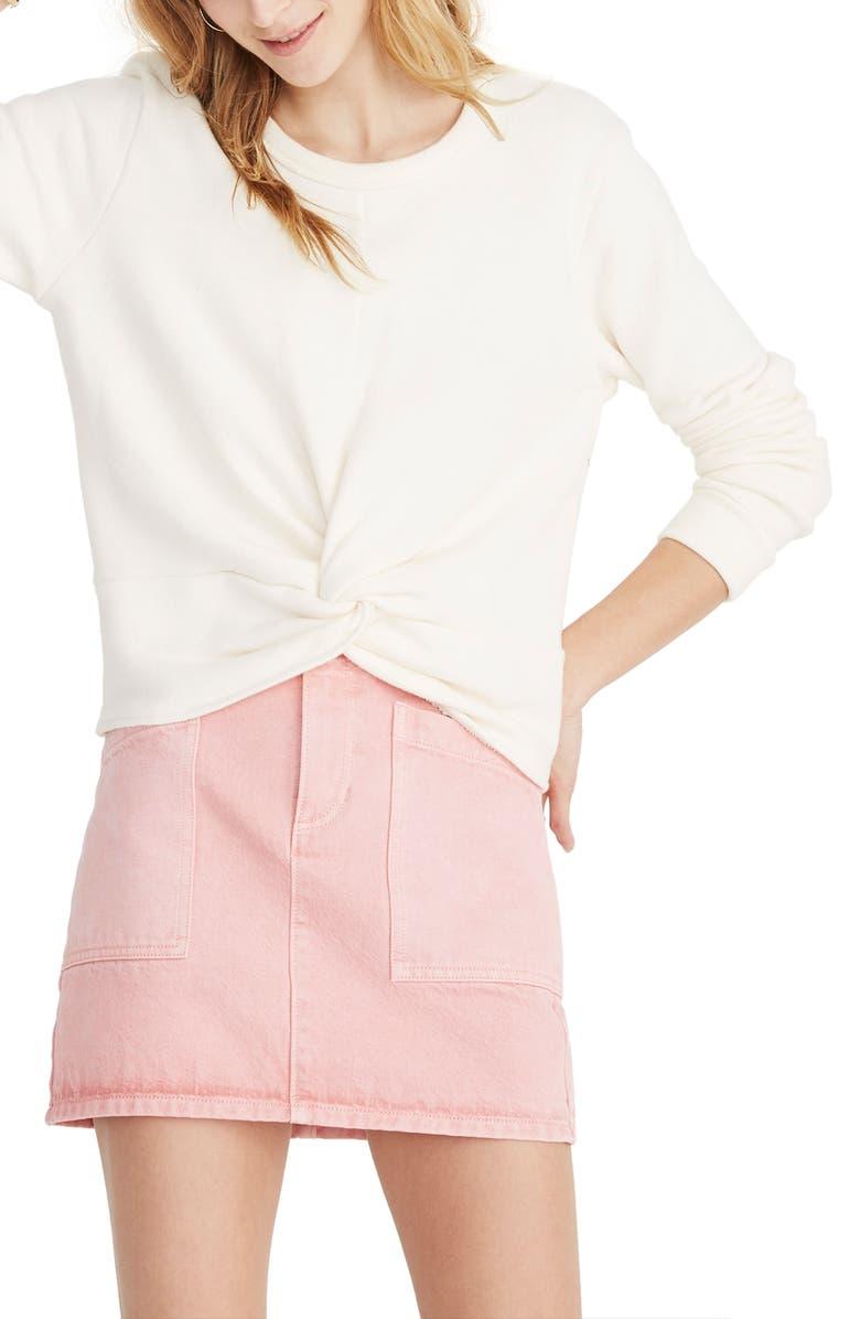 MADEWELL Twist Front Sweatshirt, Main, color, 100
