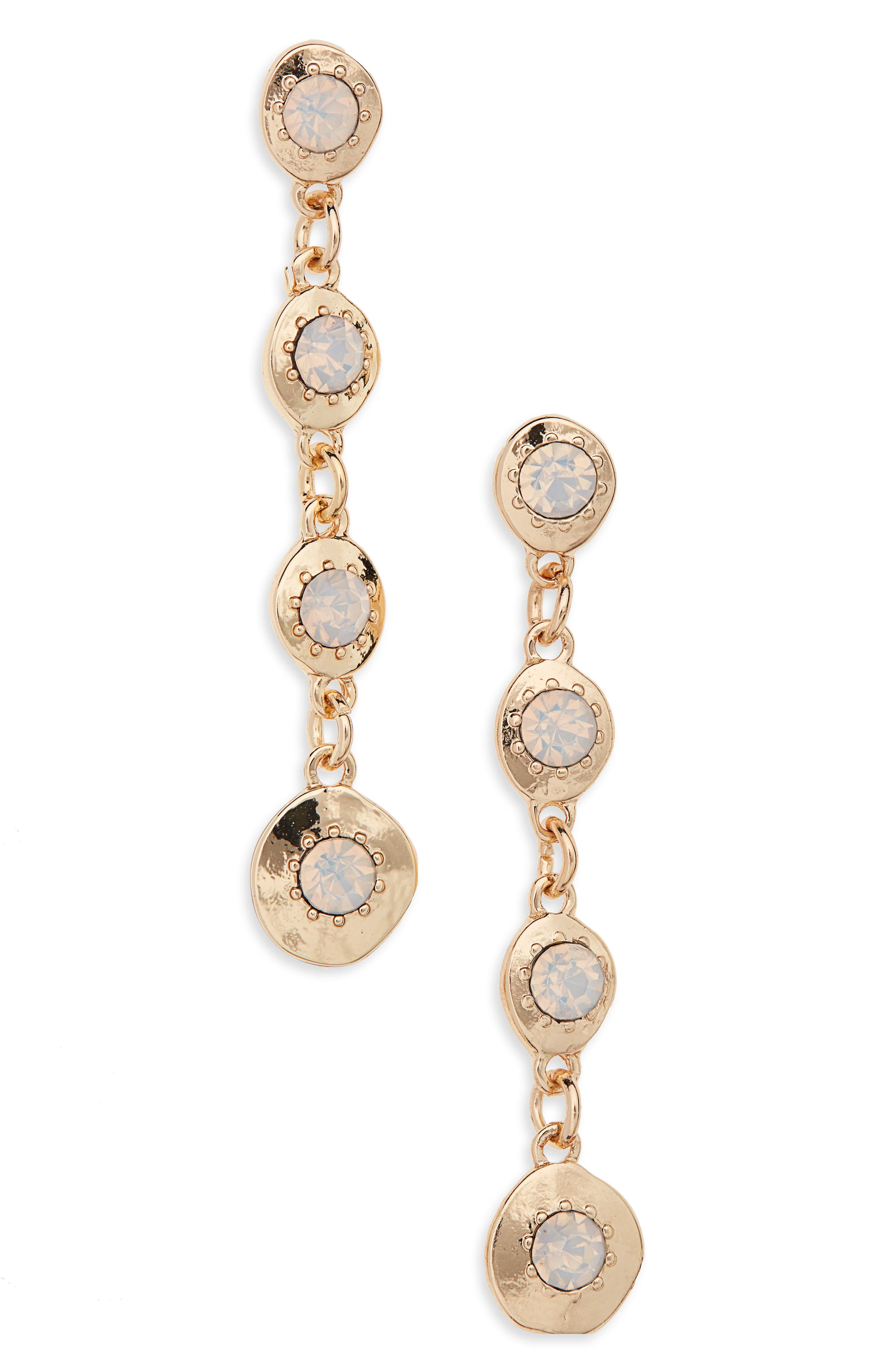 Linear Stone Earrings, Main, color, WHITE- GOLD