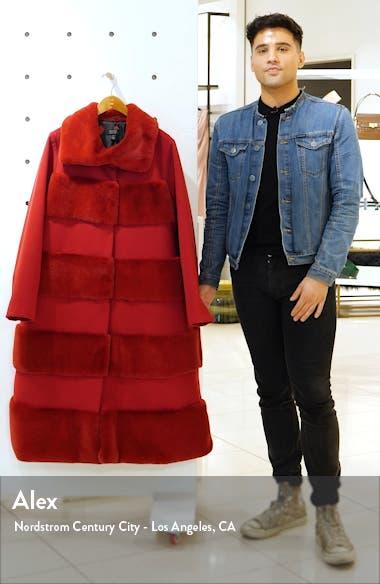 x Atlantic-Pacific Faux Fur Tiered Stripe Long Coat, sales video thumbnail