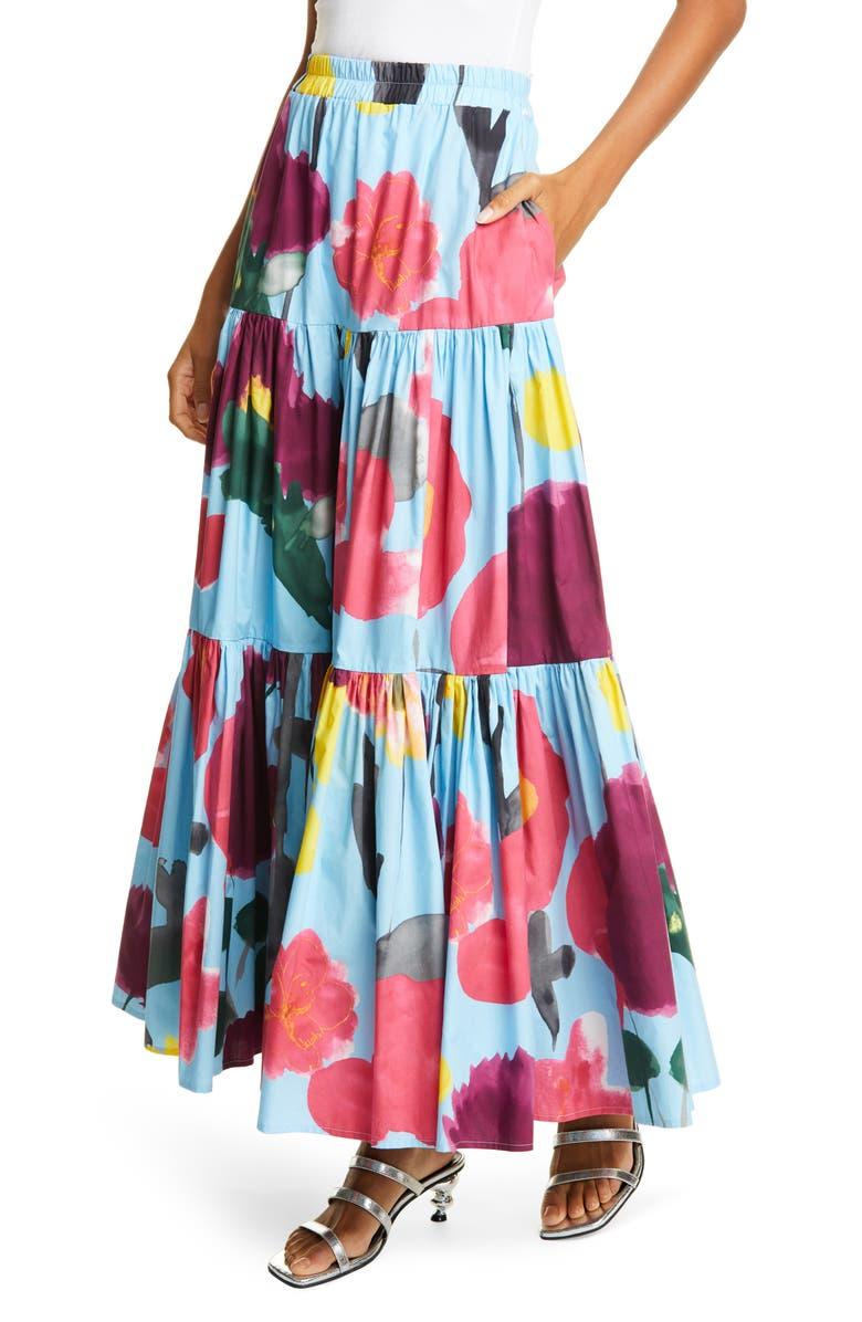 LA DOUBLEJ Big Print Convertible Tiered Cotton Maxi Skirt, Main, color, PROM AZZURRO
