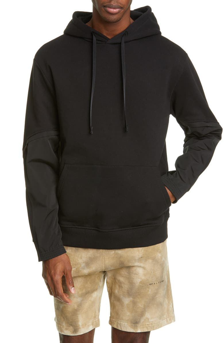 1017 ALYX 9SM Twisted Contrast Sleeve Hoodie, Main, color, BLACK