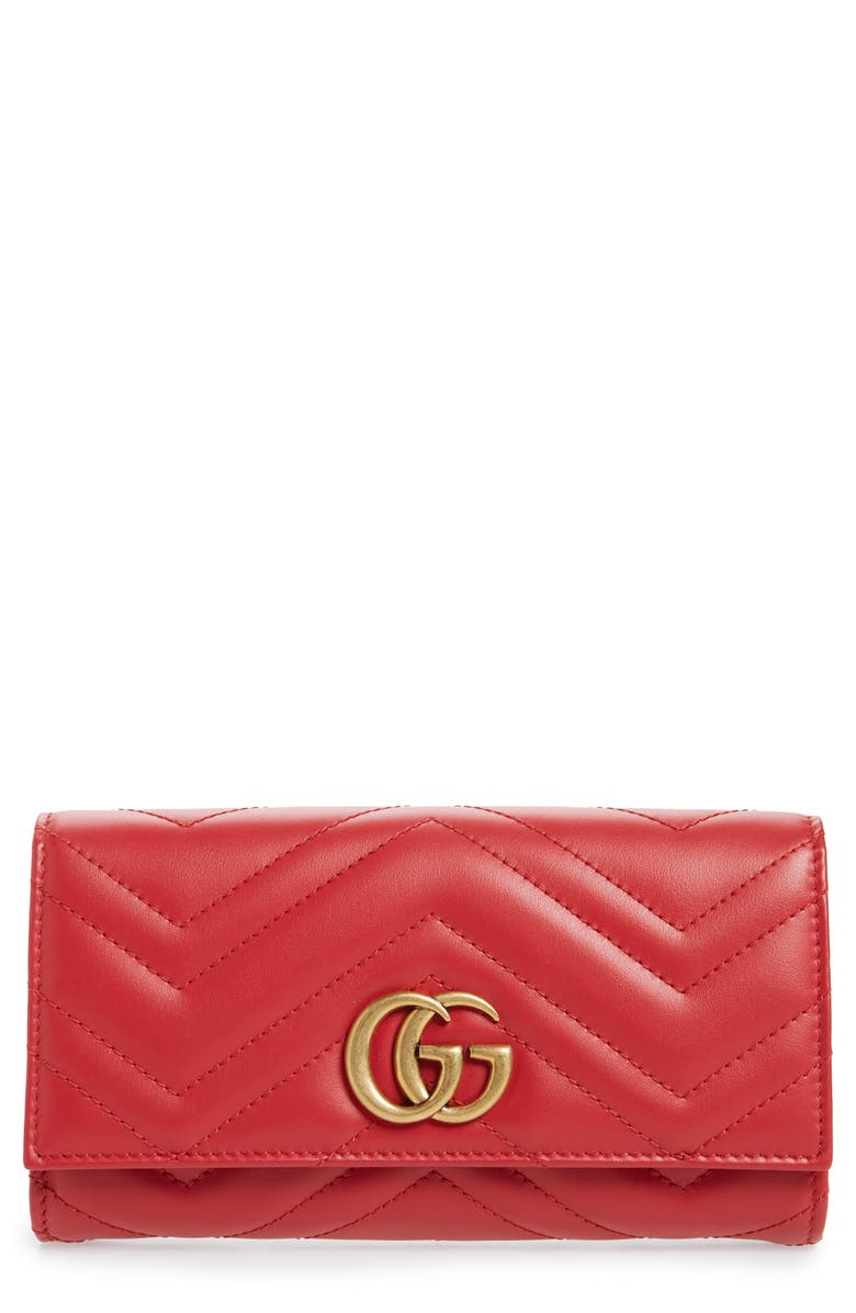 GUCCI Marmont 2.0 Leather Continental Wallet, Main, color, HIBISCUS RED