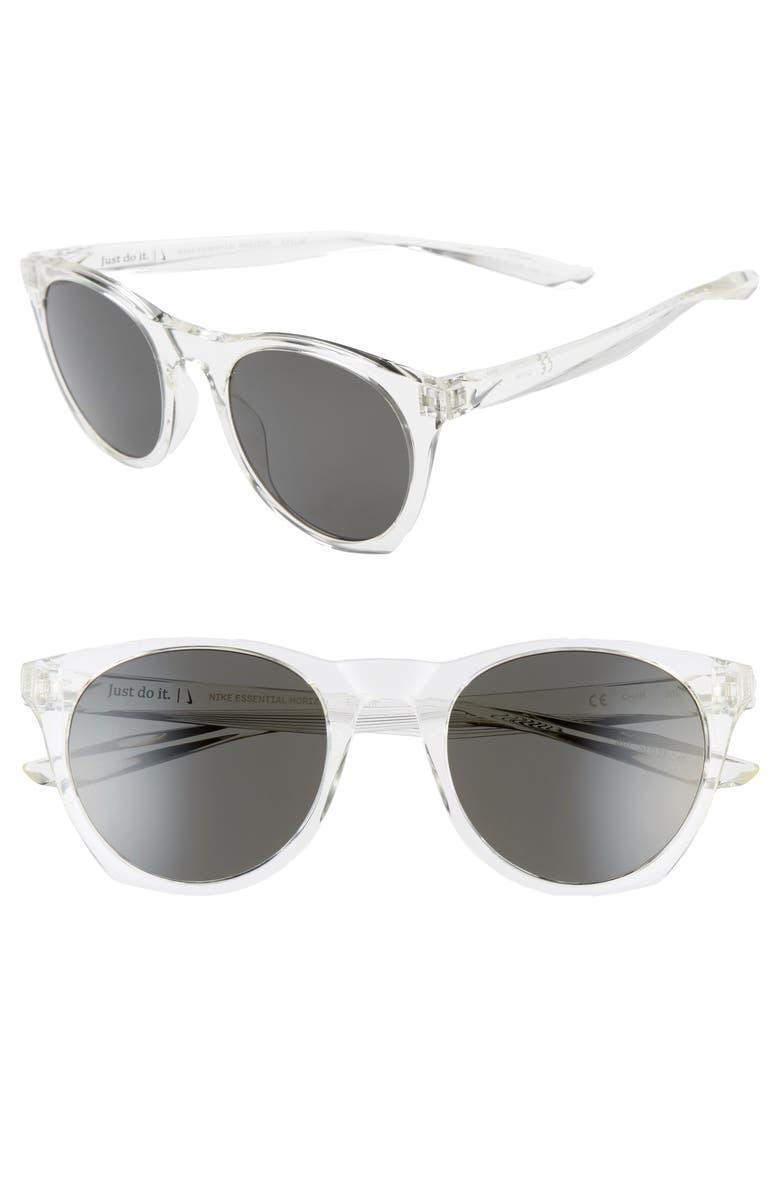 NIKE Essential Horizon 51mm Sunglasses, Main, color, CLEAR/ DARK GREY