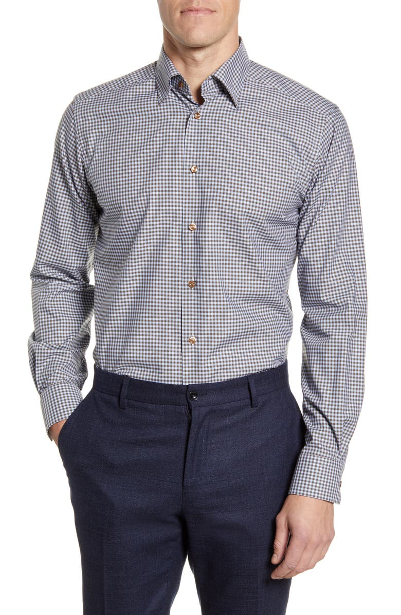 ETON Contemporary Fit Check Dress Shirt, Main, color, OFF WHITE/ BROWN