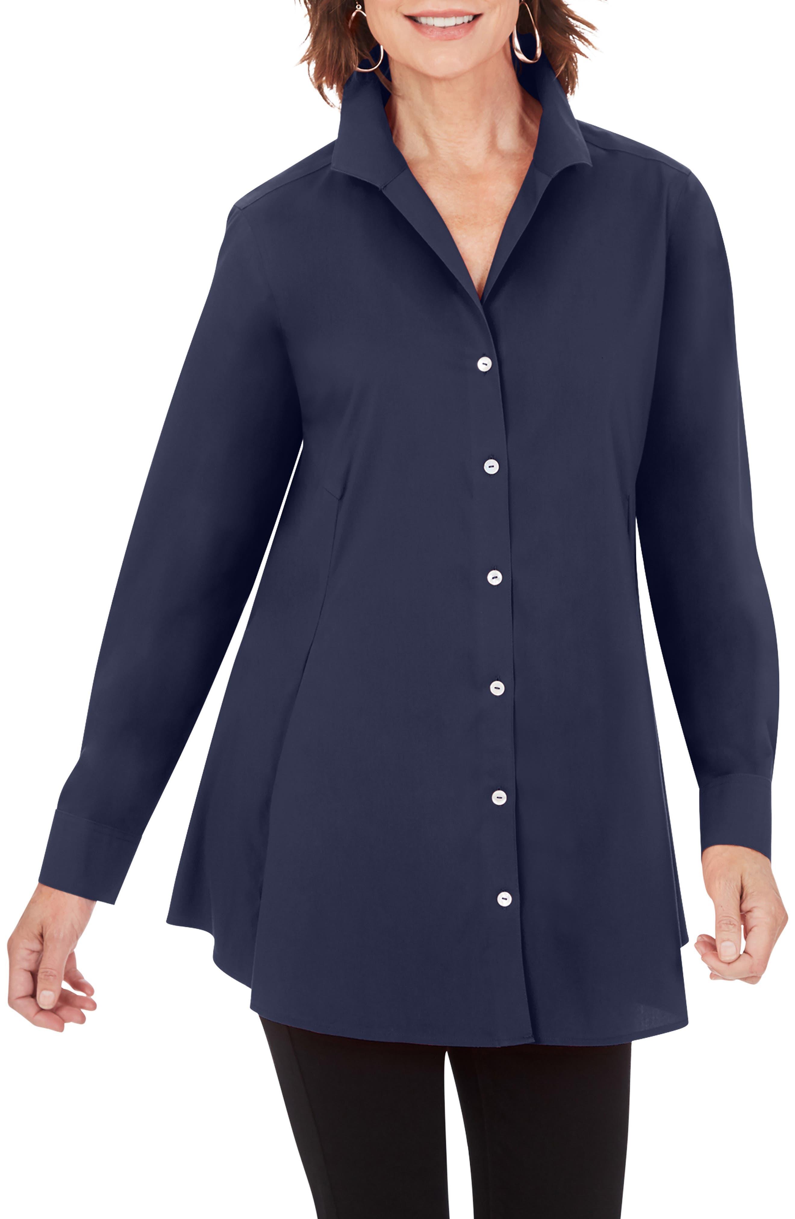 Cecilia Non-Iron Button-Up Tunic Shirt