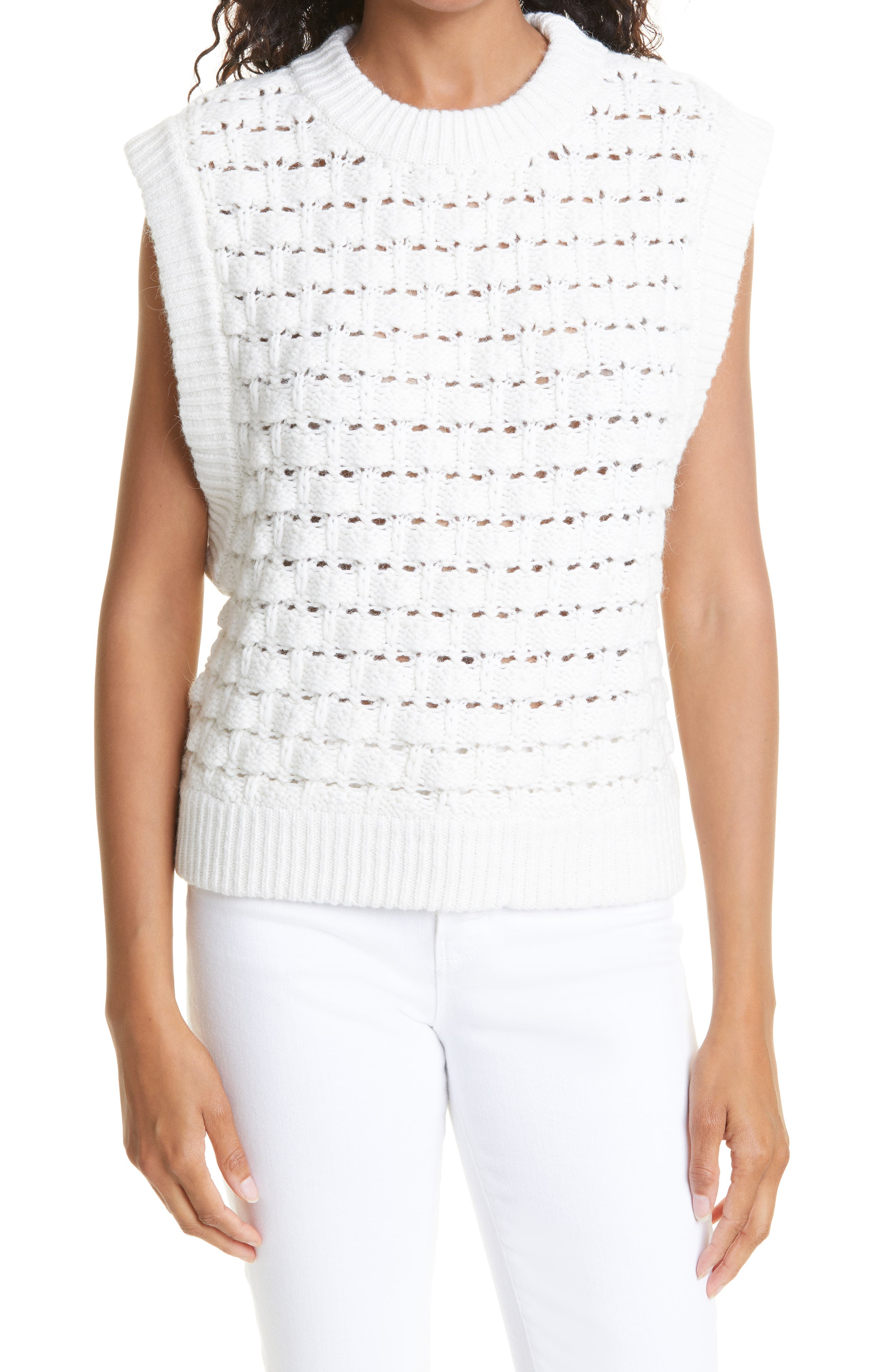 Sleeveless Cotton & Wool Blend Sweater