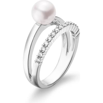 Mikimoto Akoya Cultured Pearl & Diamond Ring