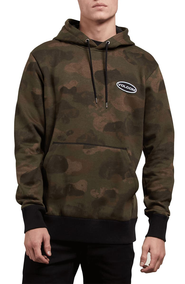 VOLCOM Shop Camo Hooded Sweatshirt, Main, color, 200
