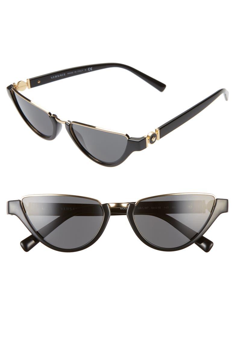 VERSACE 54mm Half Moon Sunglasses, Main, color, BLACK/ GOLD/ BLACK SOLID