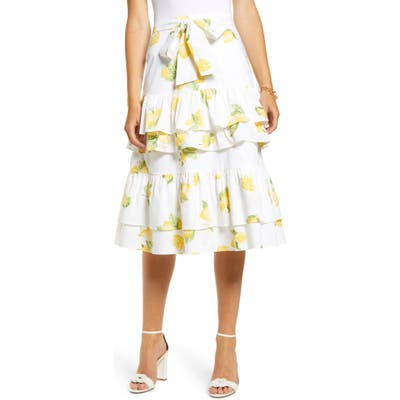 Rachel Parcell Lemon Tiered Ruffle Skirt, Yellow (Nordstrom Exclusive)