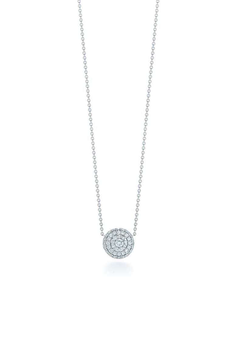 KWIAT Sunburst Pavé Diamond Double Halo Pendant Necklace, Main, color, WHITE GOLD