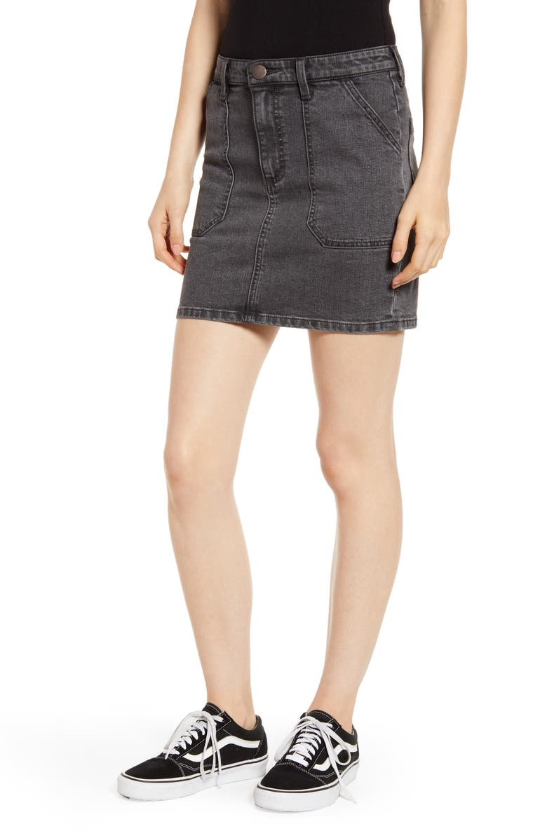 WRANGLER Denim Utility Miniskirt, Main, color, ONYX