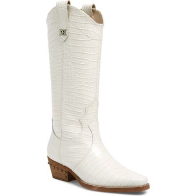 Sam Edelman Oakland Croc Embossed Western Boot- Ivory