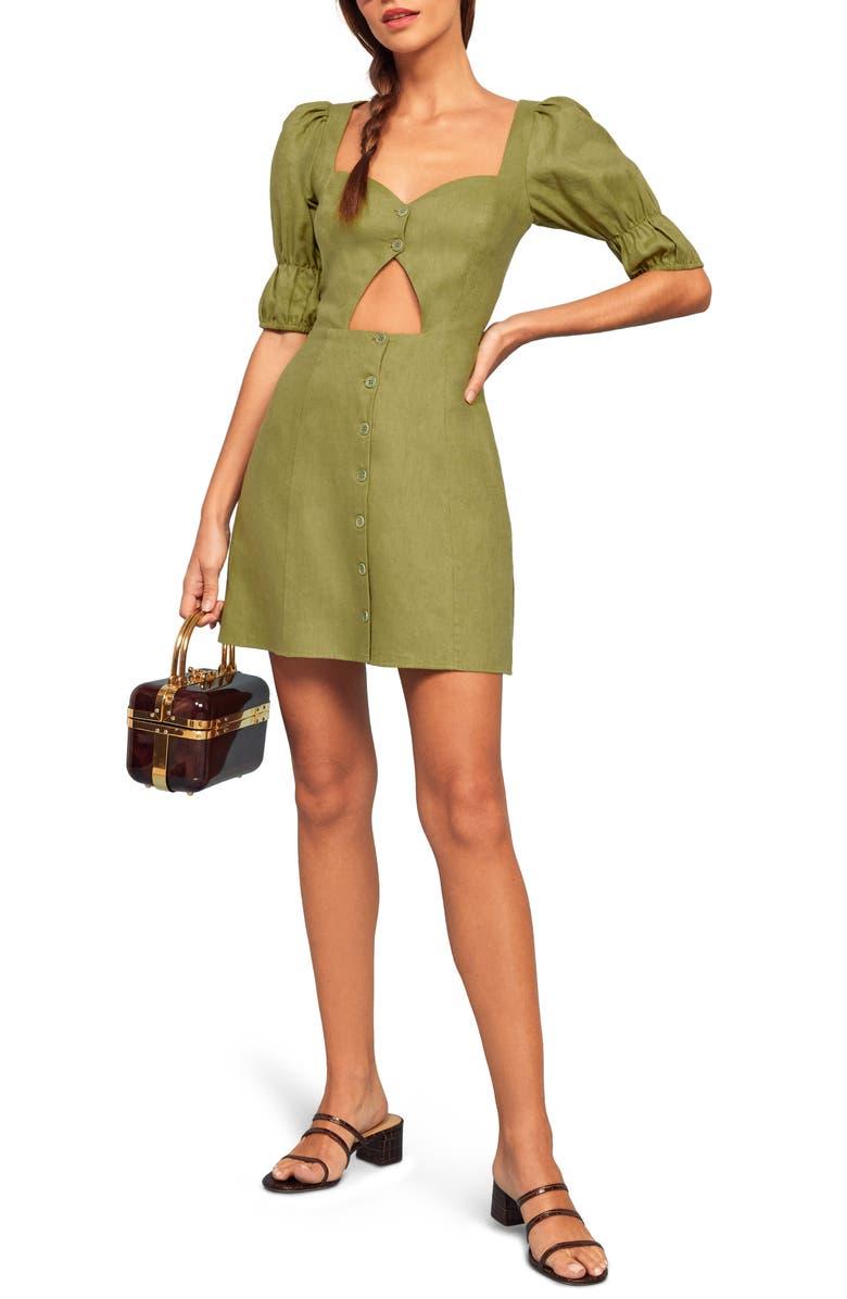 REFORMATION Clay Cutout Linen Dress, Main, color, AVOCADO