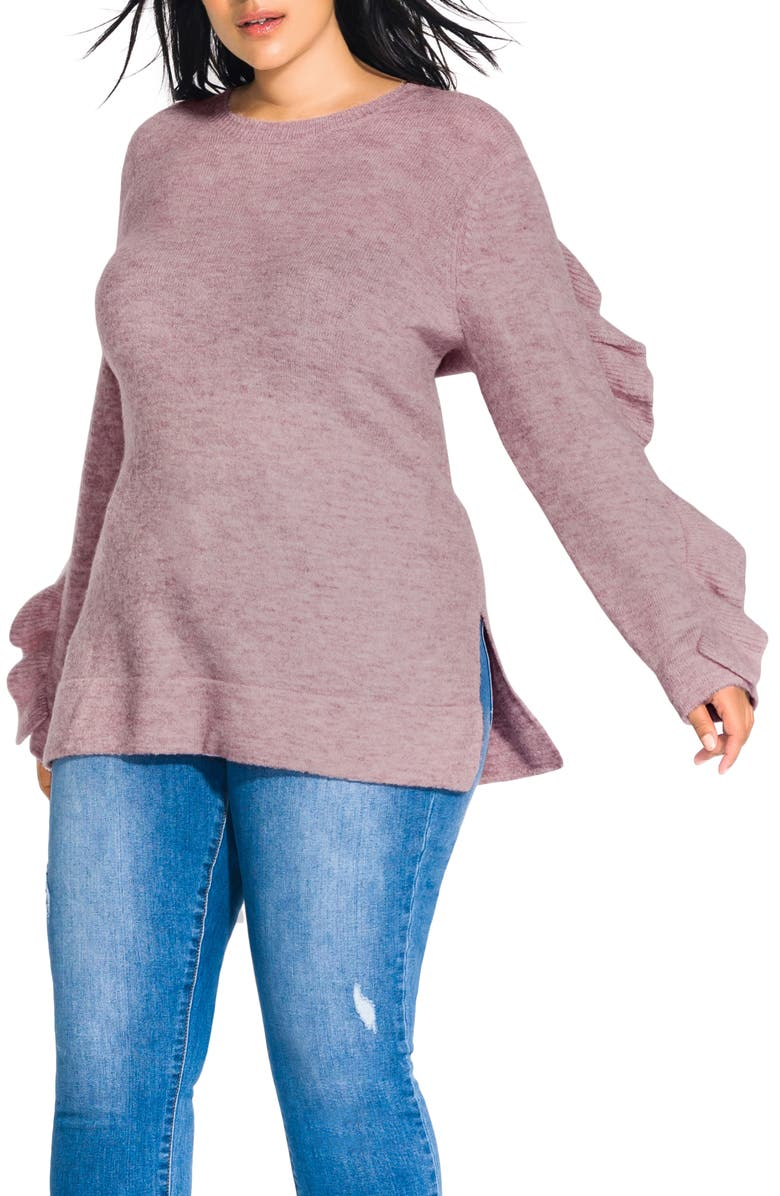 CITY CHIC Flirt Frill Long Sleeve Sweater, Main, color, ROSE MARLE