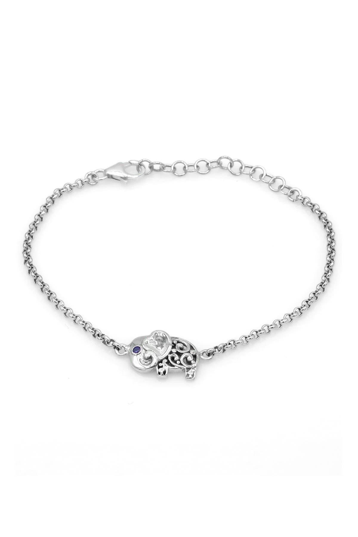Image of DEVATA Sterling Silver Amethyst Filigree Elephant Station Bracelet