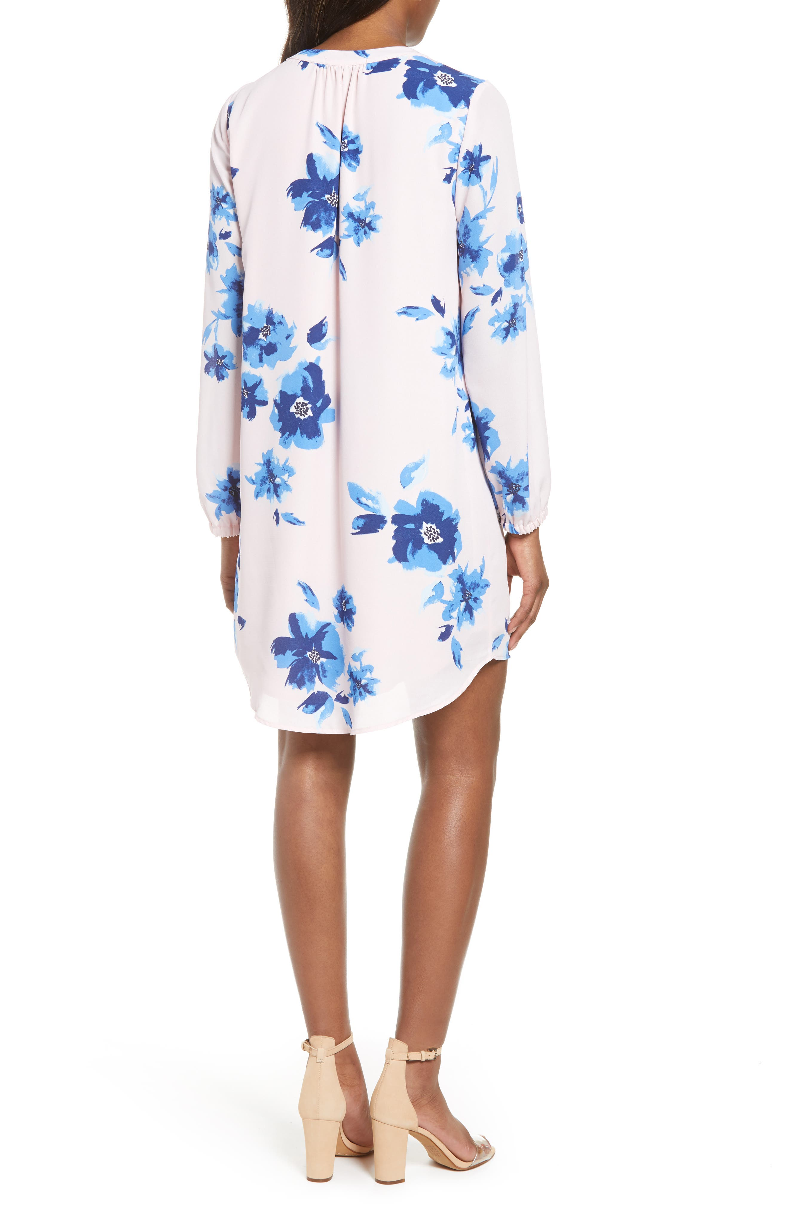 ,                             x Living in Yellow Holly Split Neck Long Sleeve Shirtdress,                             Alternate thumbnail 2, color,                             WATER FLORAL BLUSH