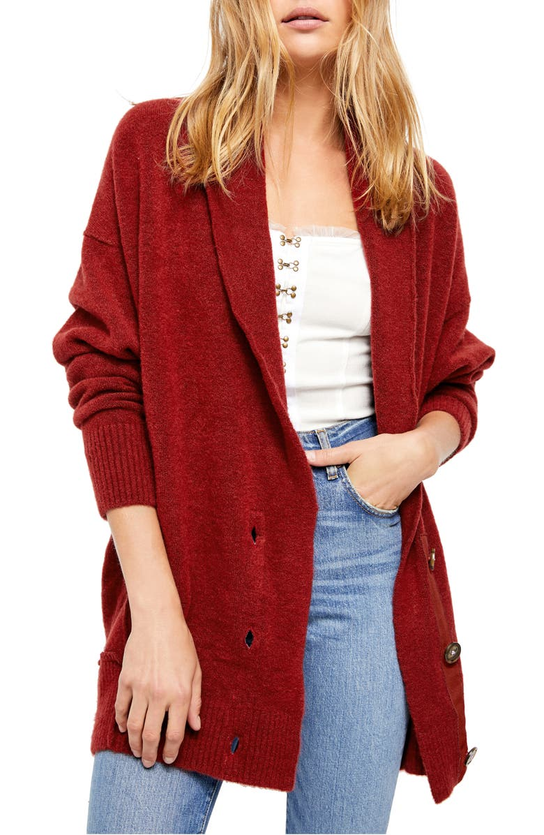 FREE PEOPLE Eucalyptus Cardigan, Main, color, RED