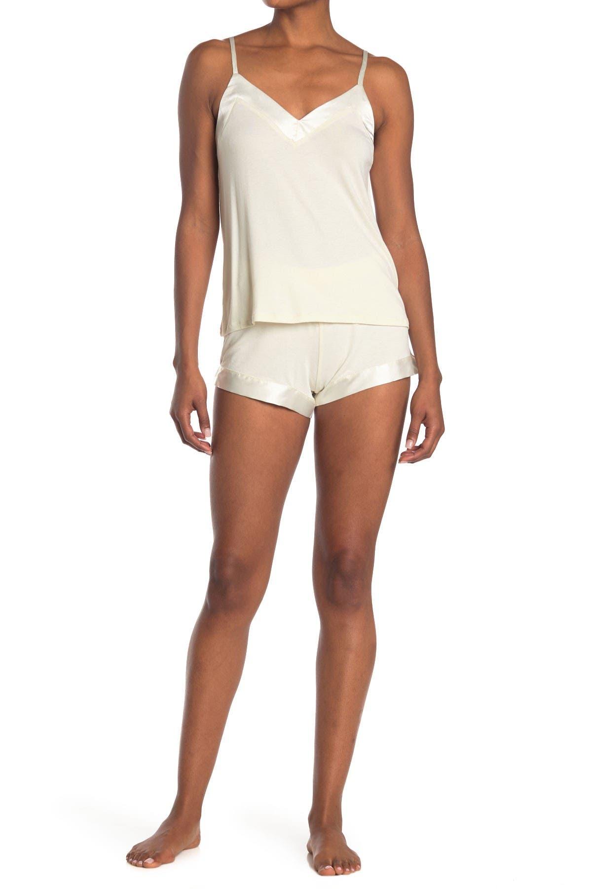 Image of COZY ROZY Satin Trim Tank & Shorts 2-Piece Pajama Set