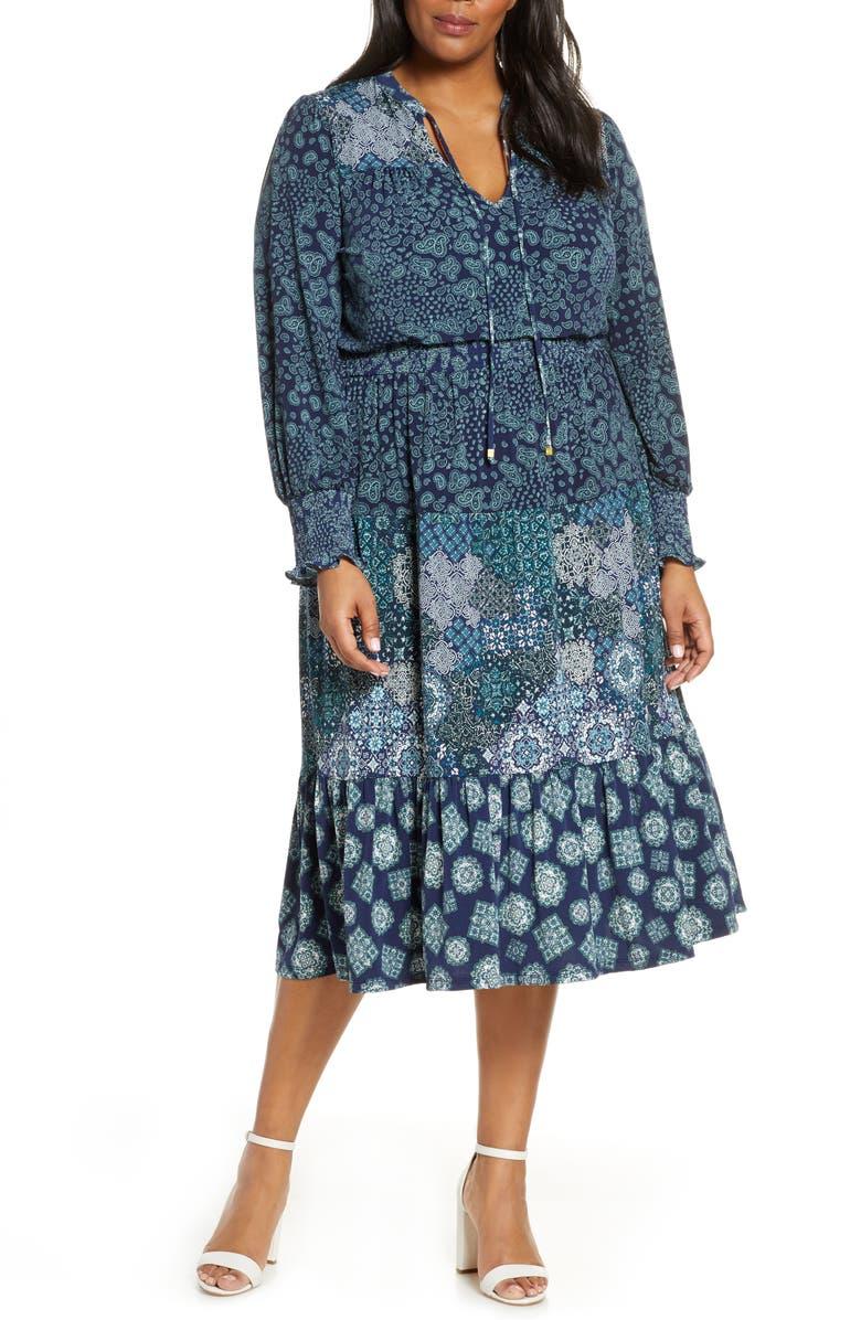 MICHAEL MICHAEL KORS Mixed Print Split Neck Long Sleeve Dress, Main, color, TRUE NAVY/ SEA GREEN