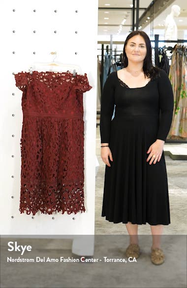 Curve Lizana Off the Shoulder Lace Cocktail Dress, sales video thumbnail