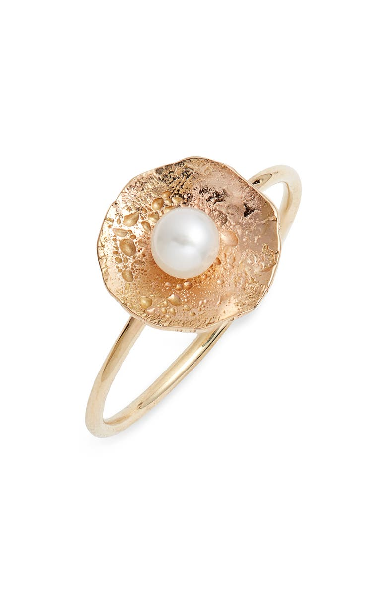 POPPY FINCH Pearl Petal Ring, Main, color, YELLOW GOLD/ PEARL