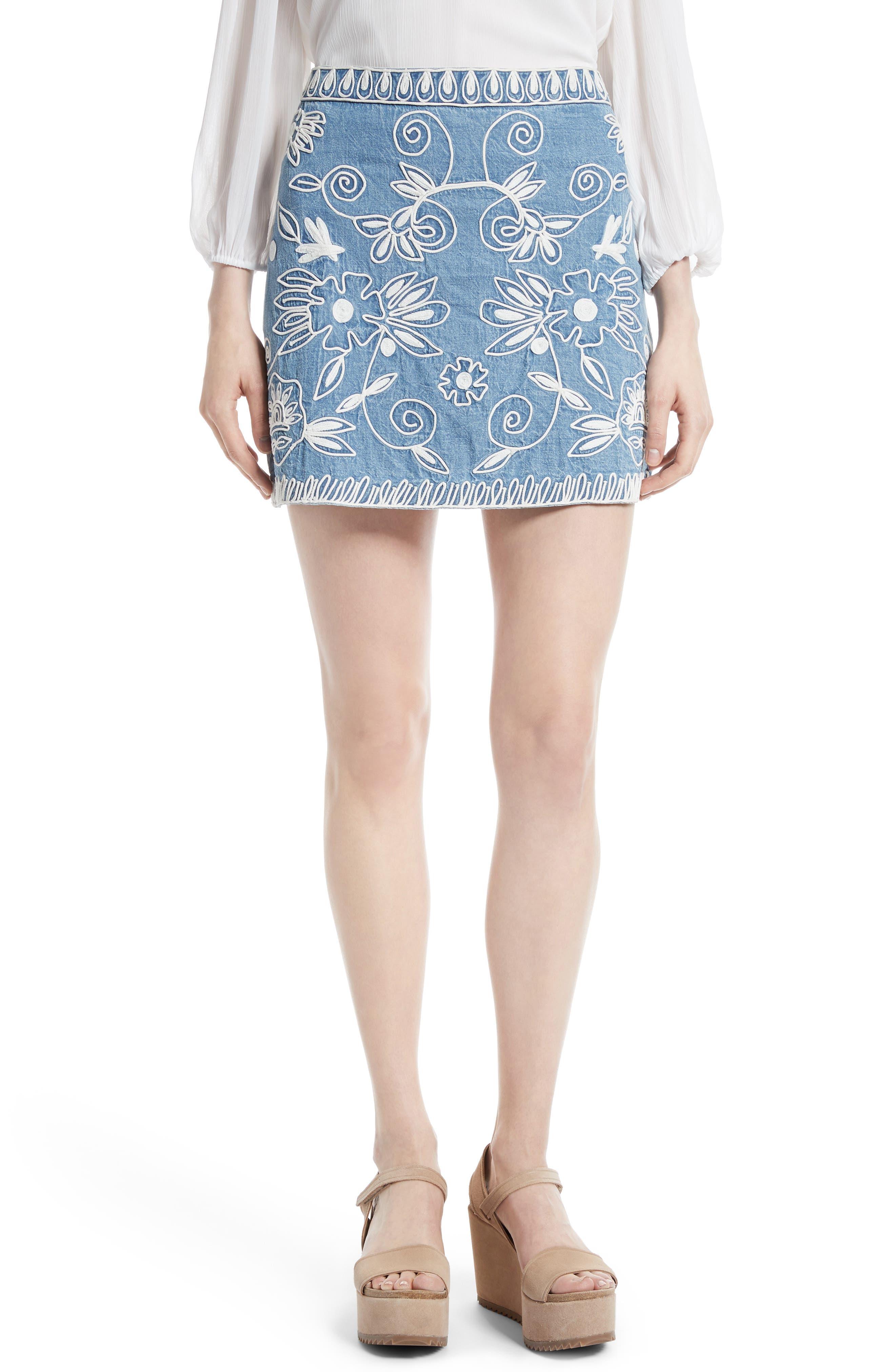 ,                             Riley Embroidered Chambray Miniskirt,                             Main thumbnail 1, color,                             405