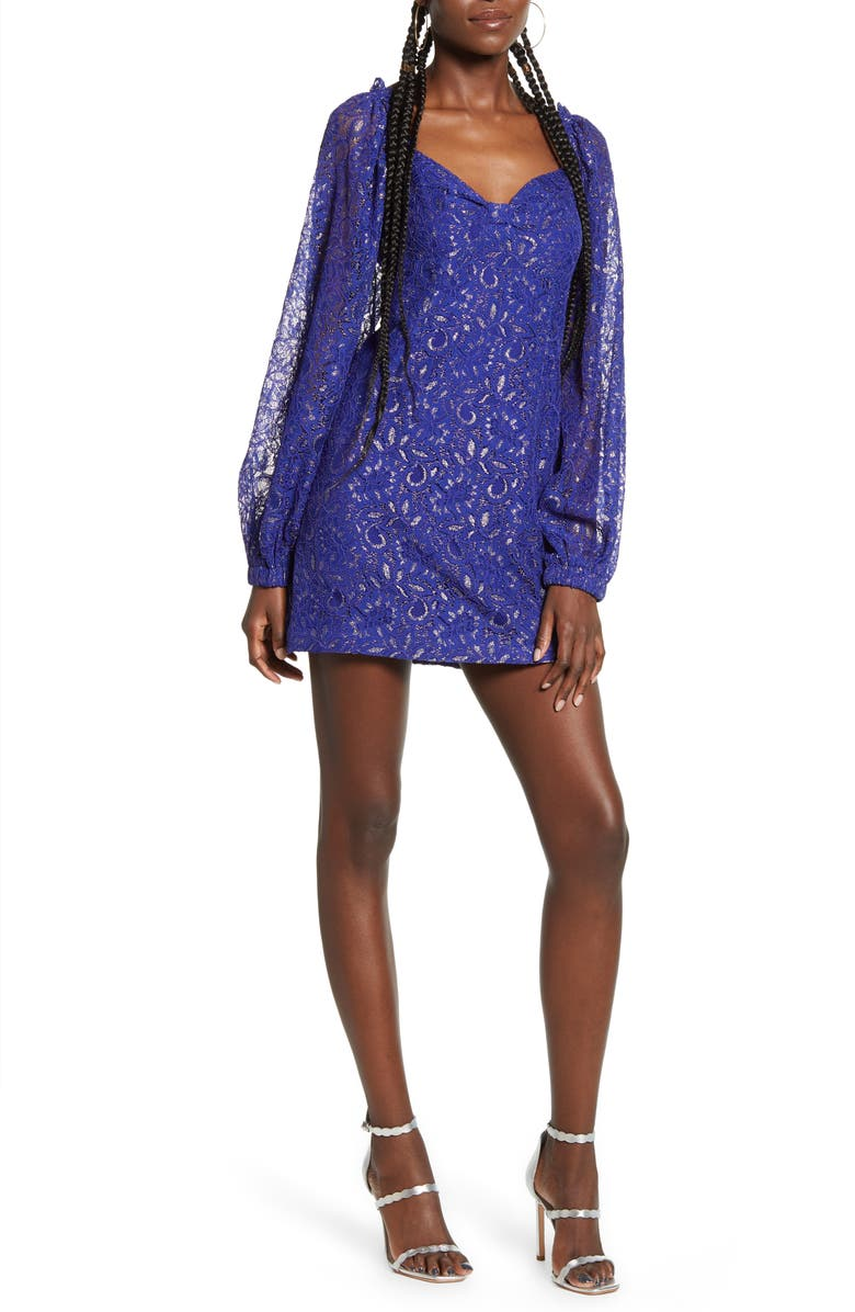 ENDLESS ROSE Sweetheart Neck Long Sleeve Metallic Lace Minidress, Main, color, VIOLET