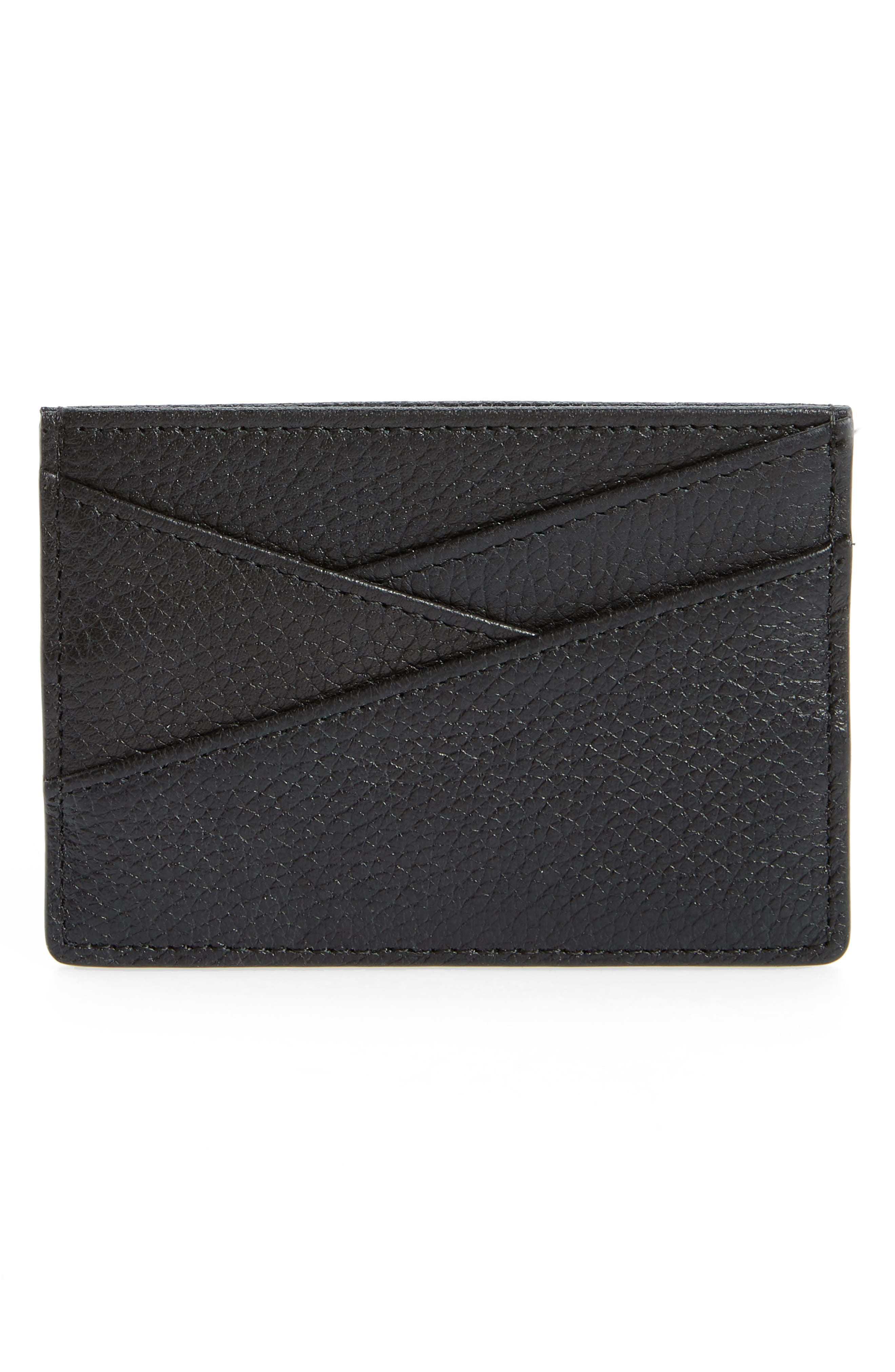 ,                             Alicia Leather Card Holder,                             Alternate thumbnail 2, color,                             BLACK