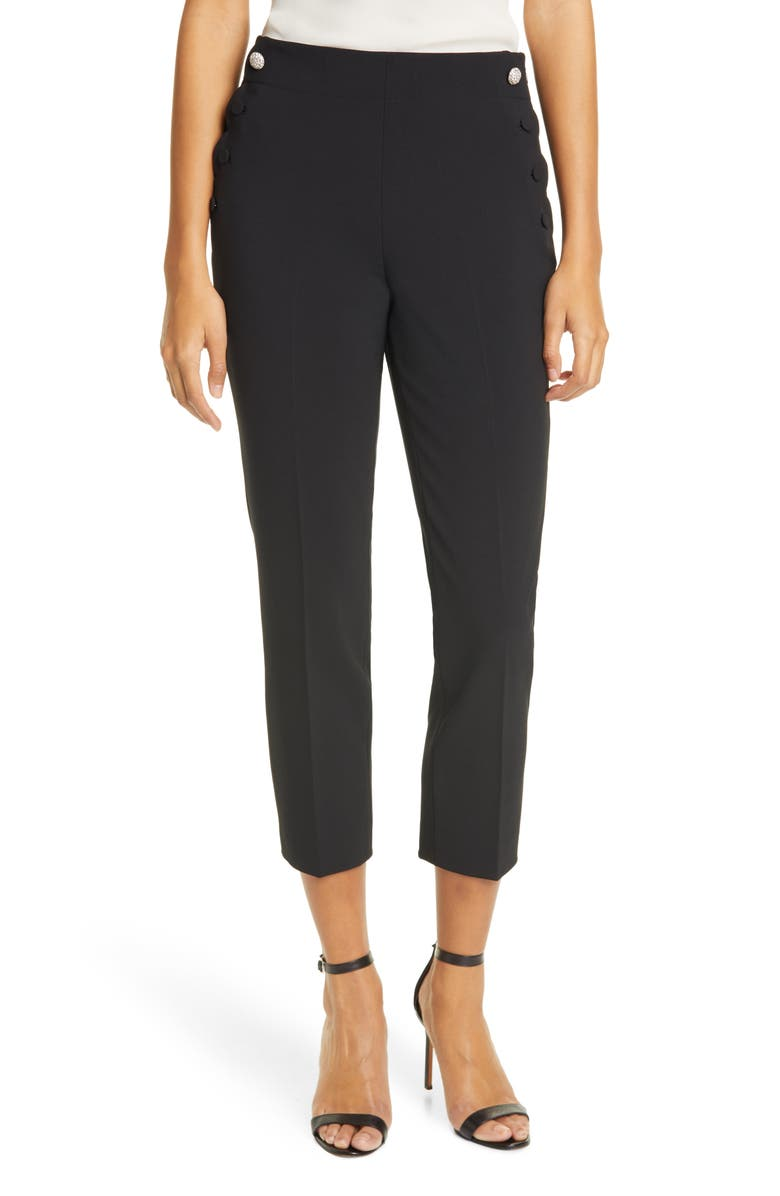 KATE SPADE NEW YORK scallop detail sailor pants, Main, color, 001