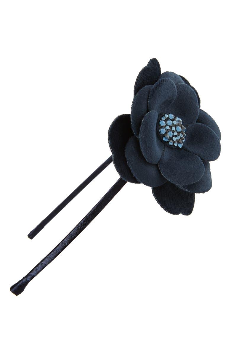 BARI LYNN Velvet Flower Headband, Main, color, NAVY