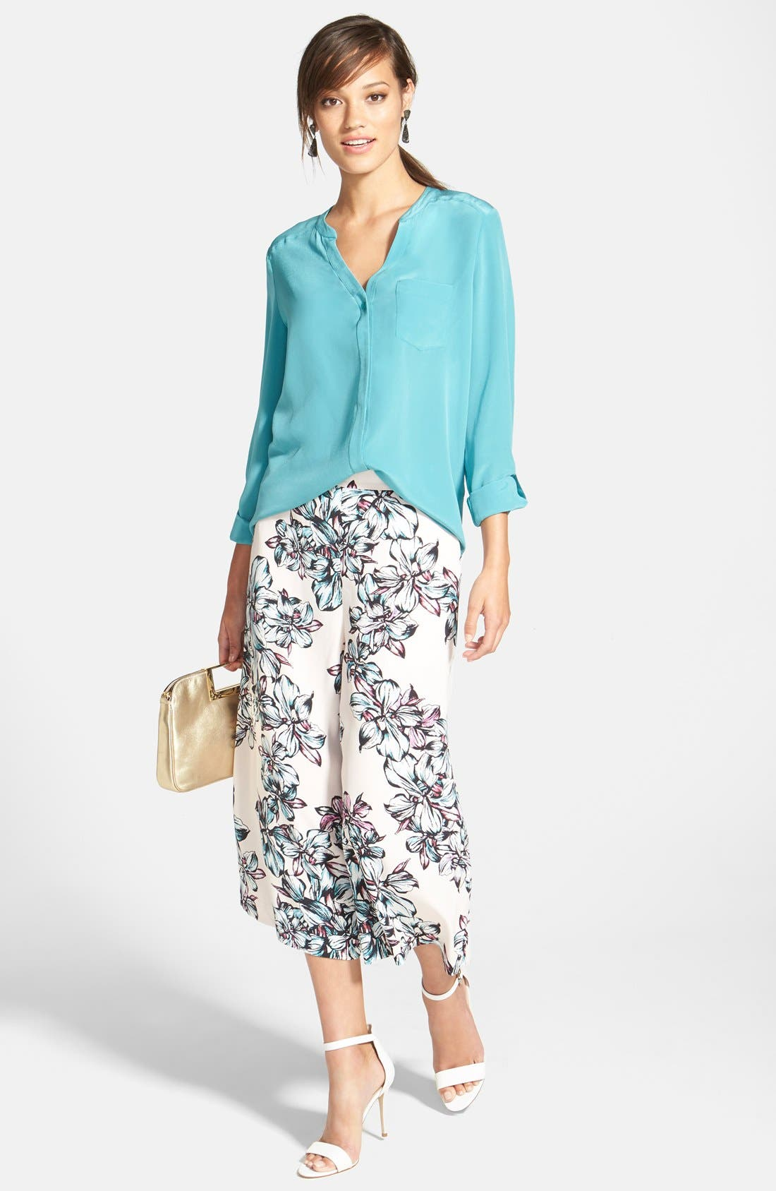 ,                             Collarless Silk Blouse,                             Alternate thumbnail 56, color,                             440