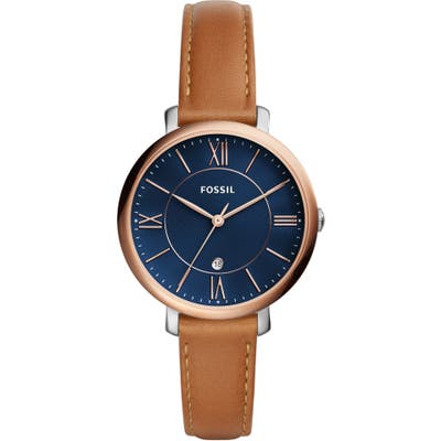 Fossil Jacqueline Leather Strap Watch,