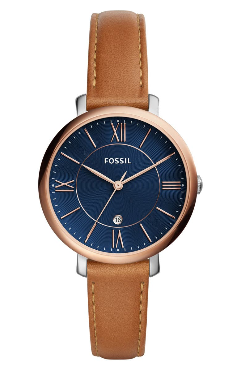 FOSSIL Jacqueline Leather Strap Watch, 36mm, Main, color, BROWN/ NAVY/ ROSE GOLD