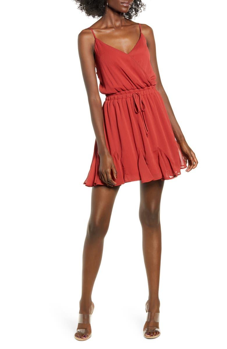 ROW A Godet Minidress, Main, color, RUST