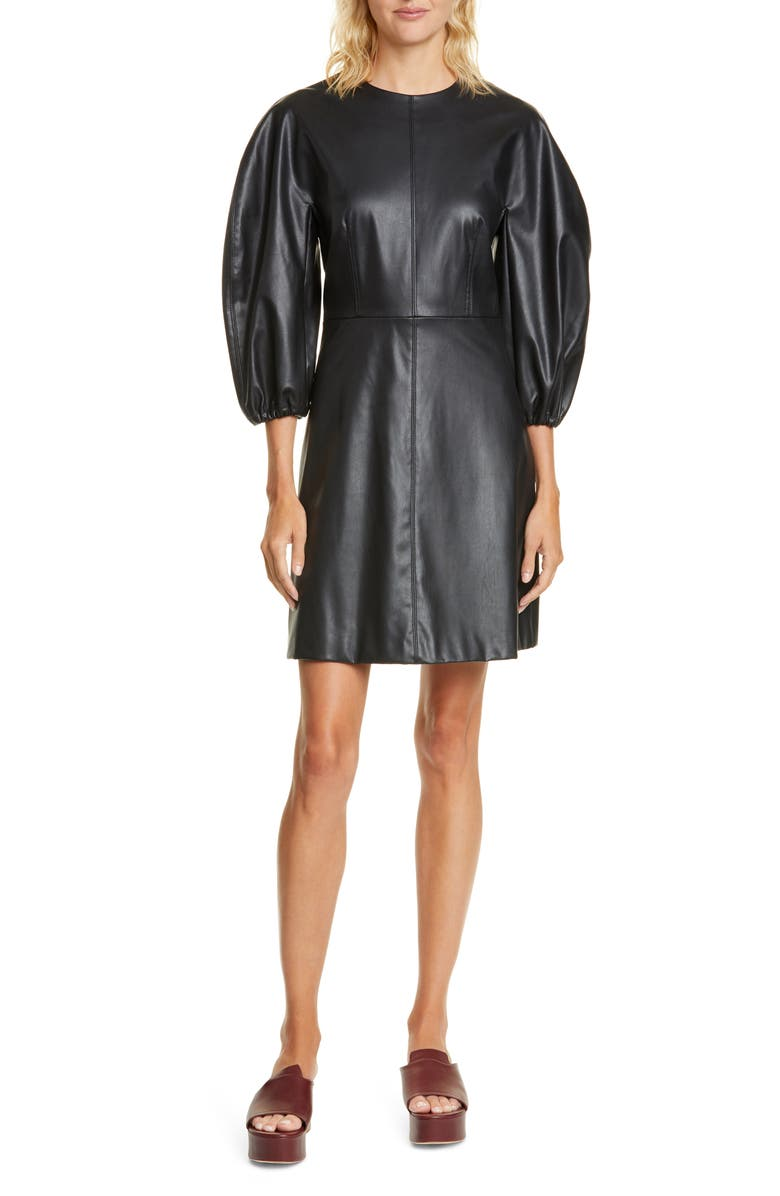 TIBI Puff Sleeve Faux Leather Minidress, Main, color, BLACK