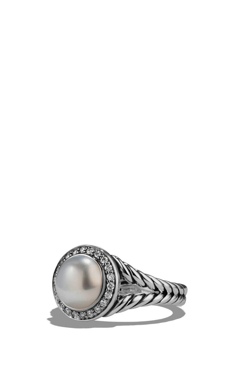 DAVID YURMAN 'Cerise' Ring with Pearl and Diamonds, Main, color, SILVER/ PEARL