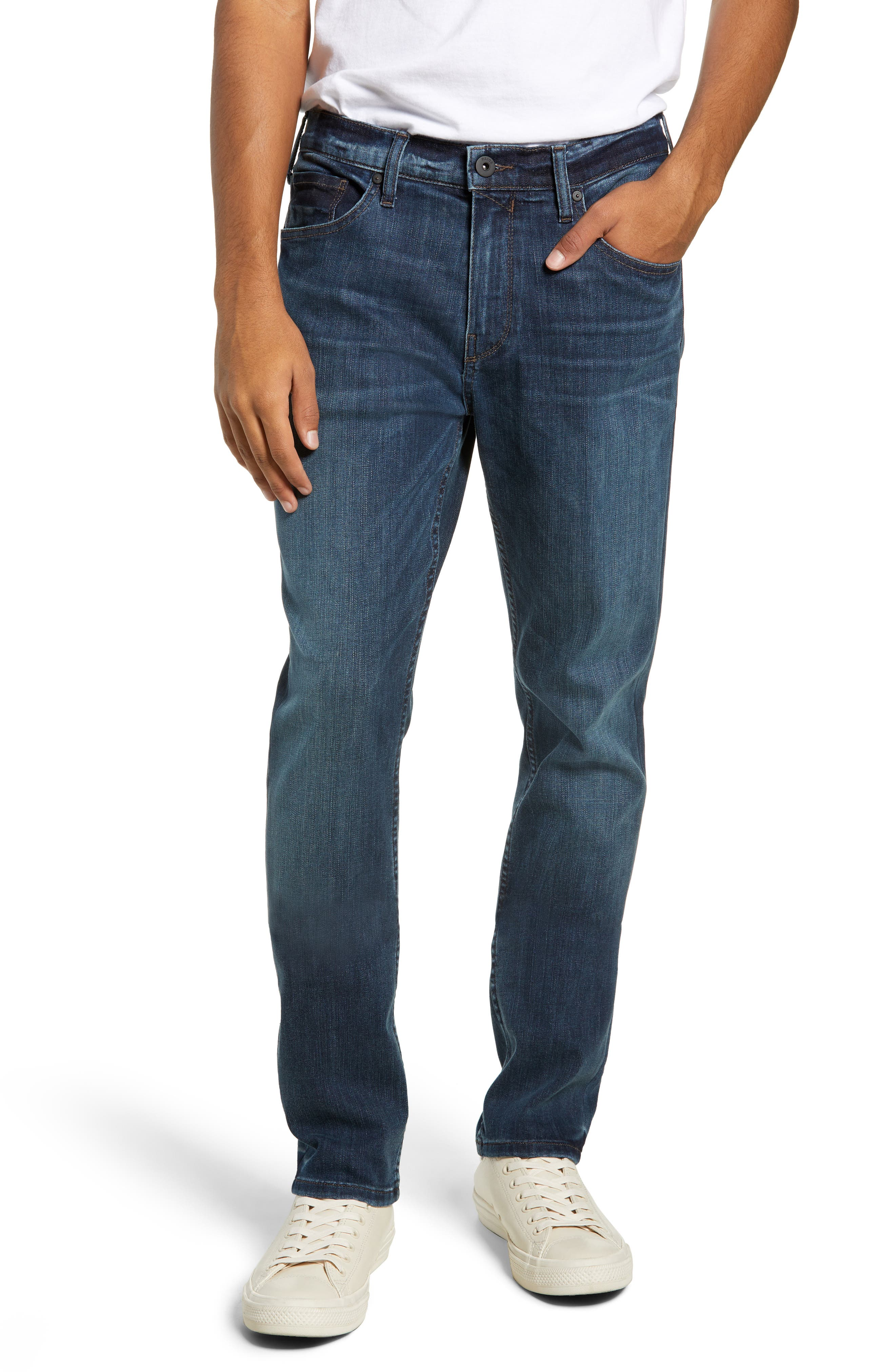 Transcend Vintage Federal Slim Straight Leg Jeans, Main, color, 400