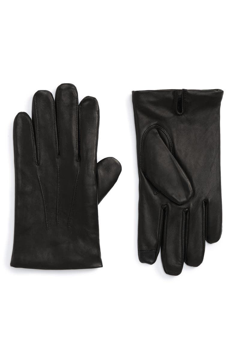 NORDSTROM MEN'S SHOP Leather Gloves, Main, color, 001
