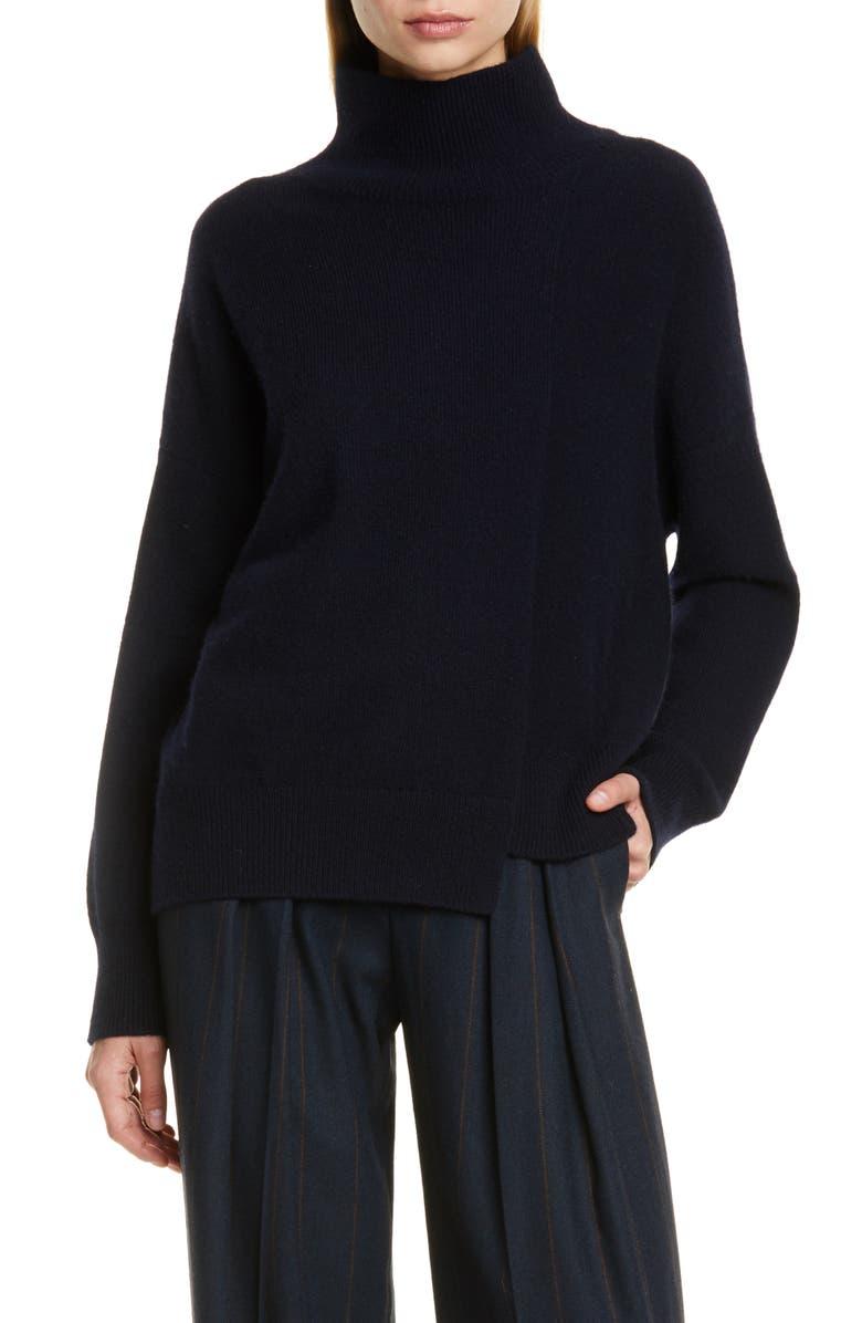 VINCE Stepped Hem Wool & Cashmere Turtleneck Sweater, Main, color, 403