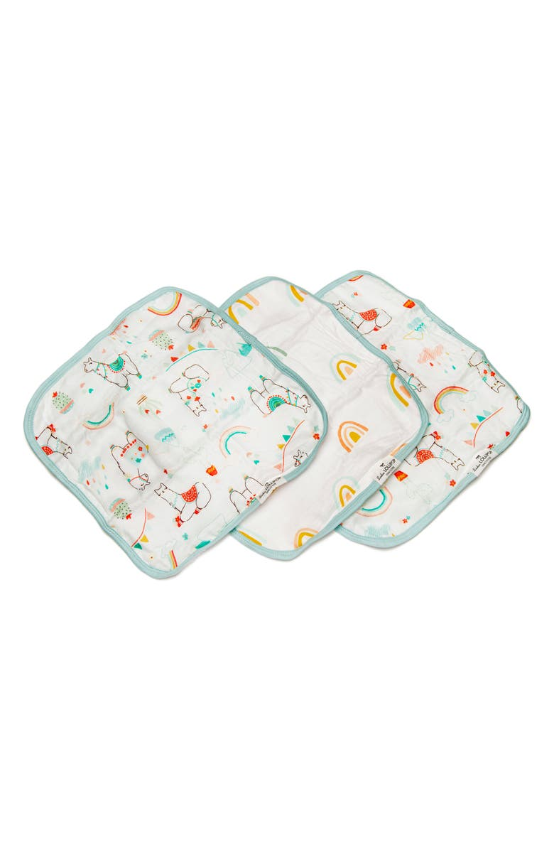 LOULOU LOLLIPOP Deluxe Pack of 3 Llama Washcloths, Main, color, LLAMA