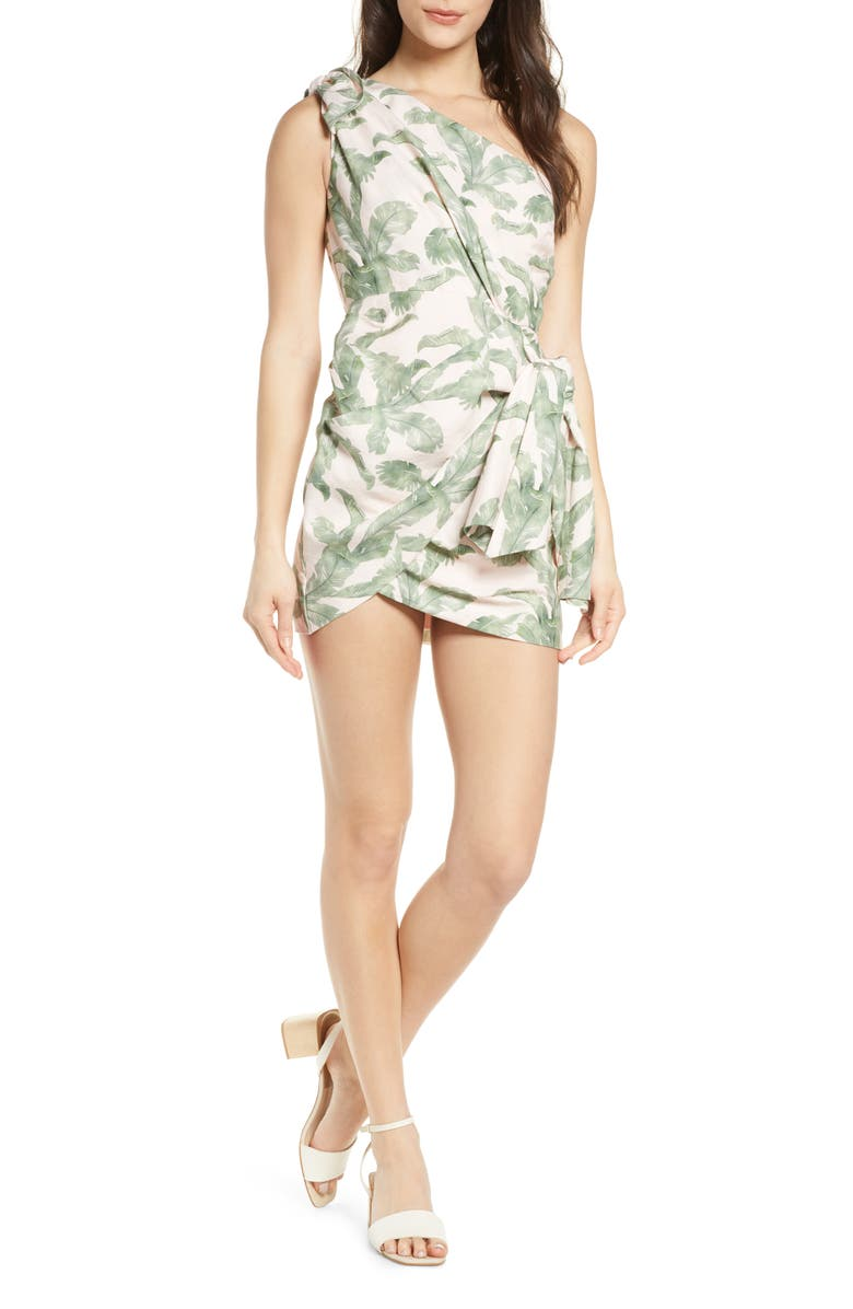 SIGNIFICANT OTHER Coraline One-Shoulder Minidress, Main, color, TROPICAL